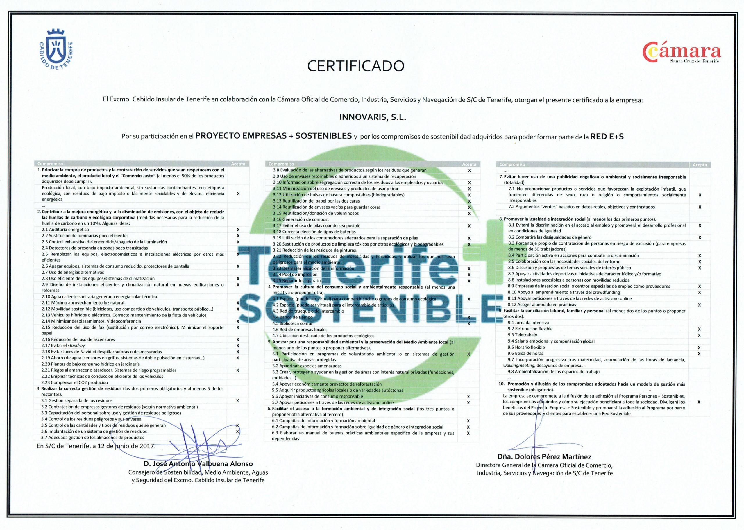 Certificado Empresas + Sostenibles Tenerife