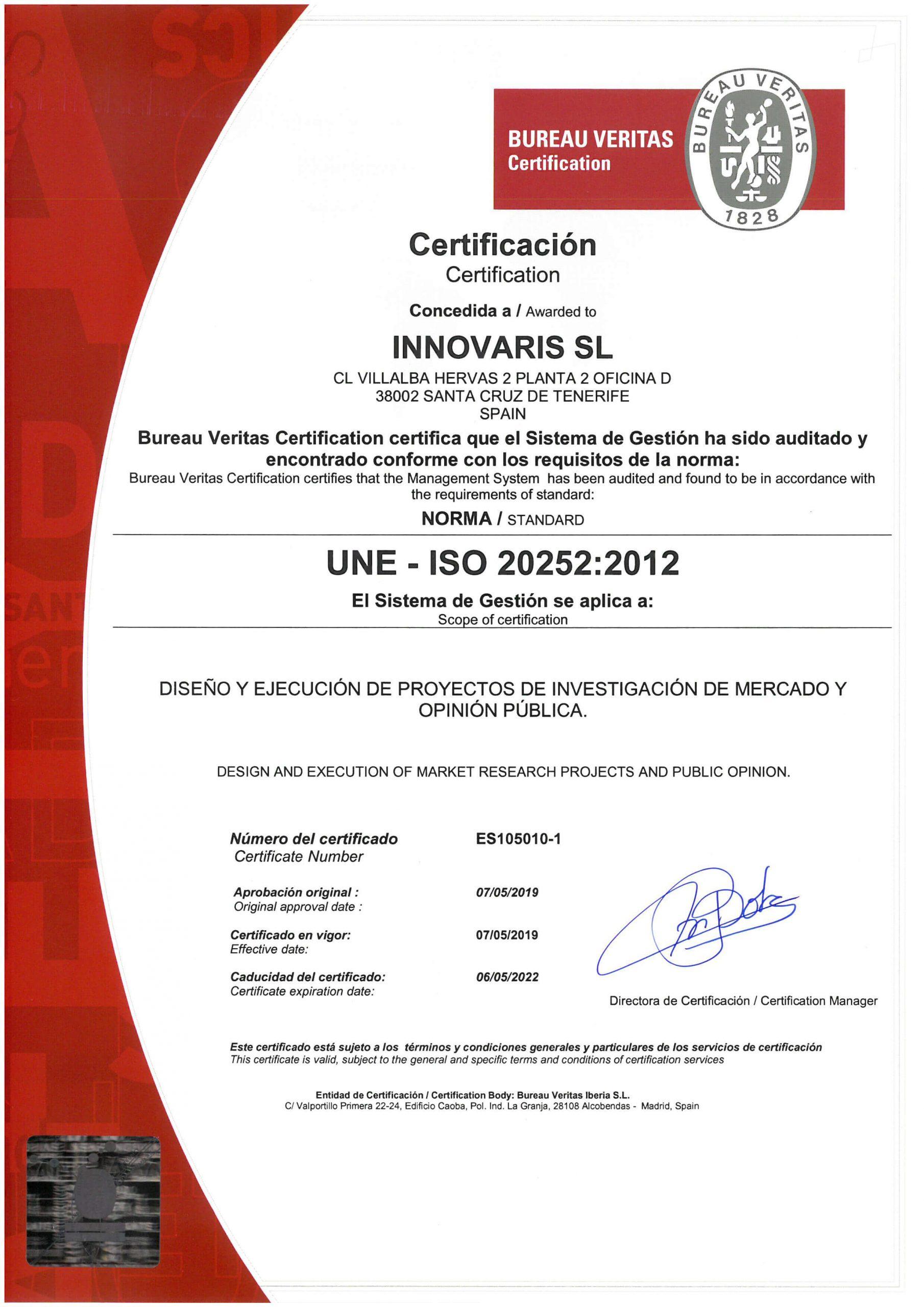 Certificado ISO 20252_2012