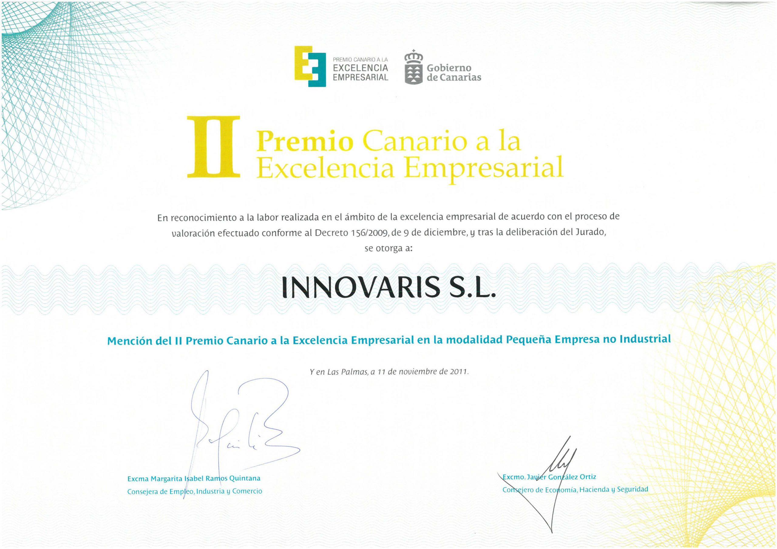 Premio a la Excelencia Empresarial Gobierno de Canarias