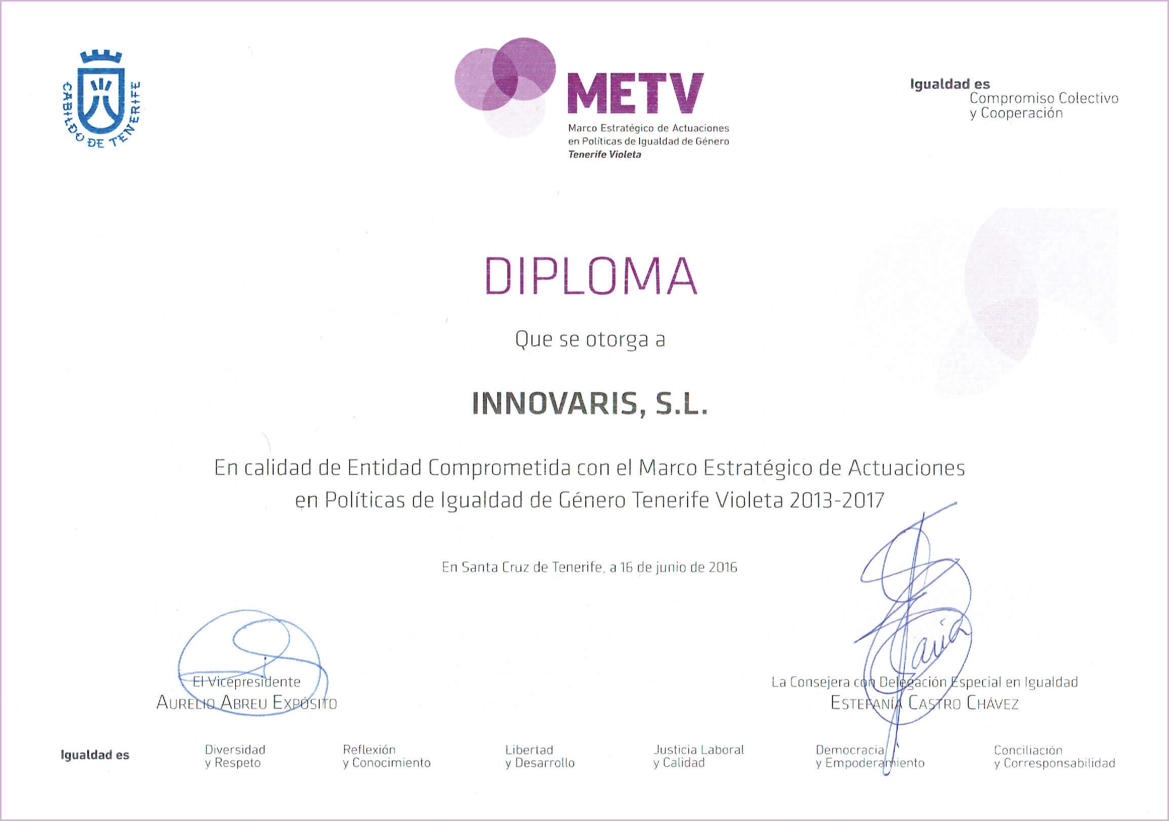 Certificado de políticas de Igualdad de Género Tenerife Violeta