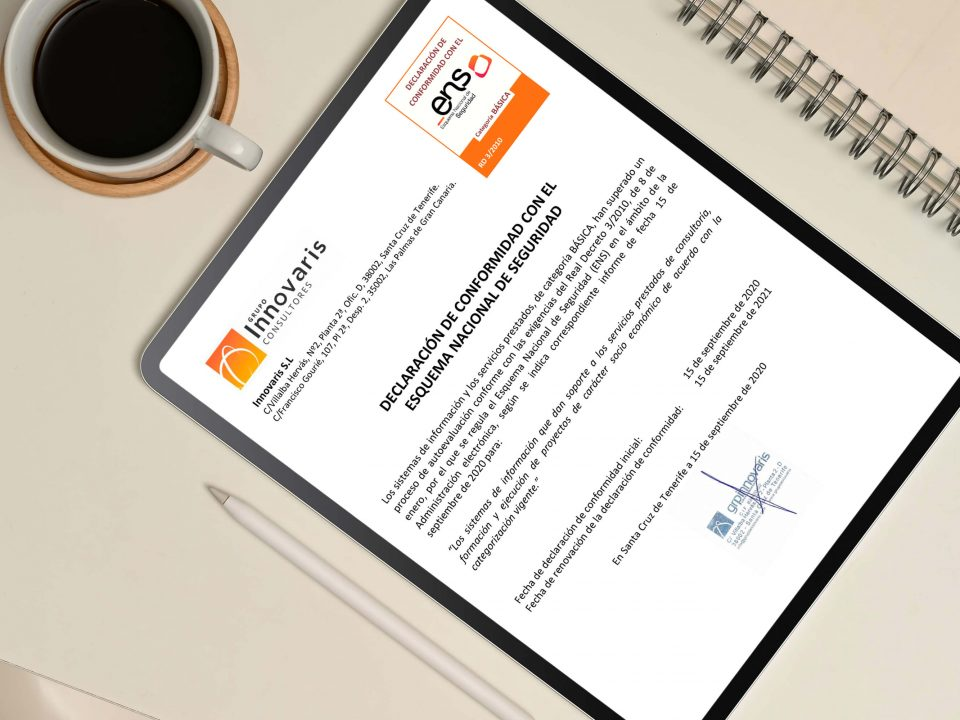 Esquema Nacional de Seguridad de Grupo Innovaris en tablet